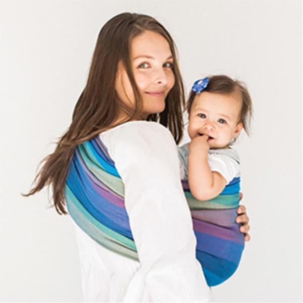 Hug A Bub Organic Traditional Ring Sling Bondi Blues Mesh Baby